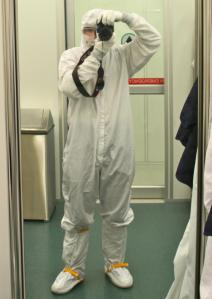 "GIST Podcast author Matt M. Casey wearing a ""bunny suit"" at the National Institute of Standards and Technology's NanoFab lab."